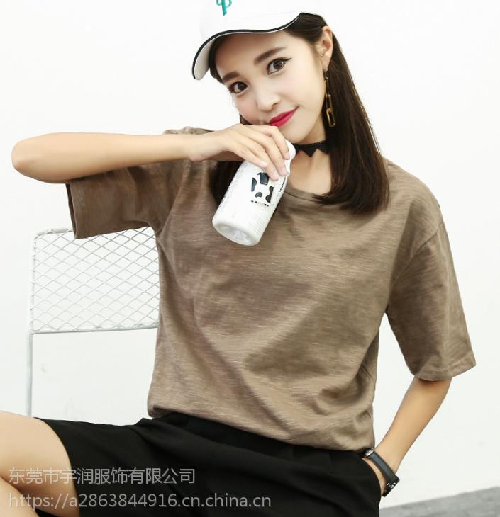 抚州便宜短袖T恤夏季纯棉T恤圆领印花上衣韩版女装短袖库存服装批发
