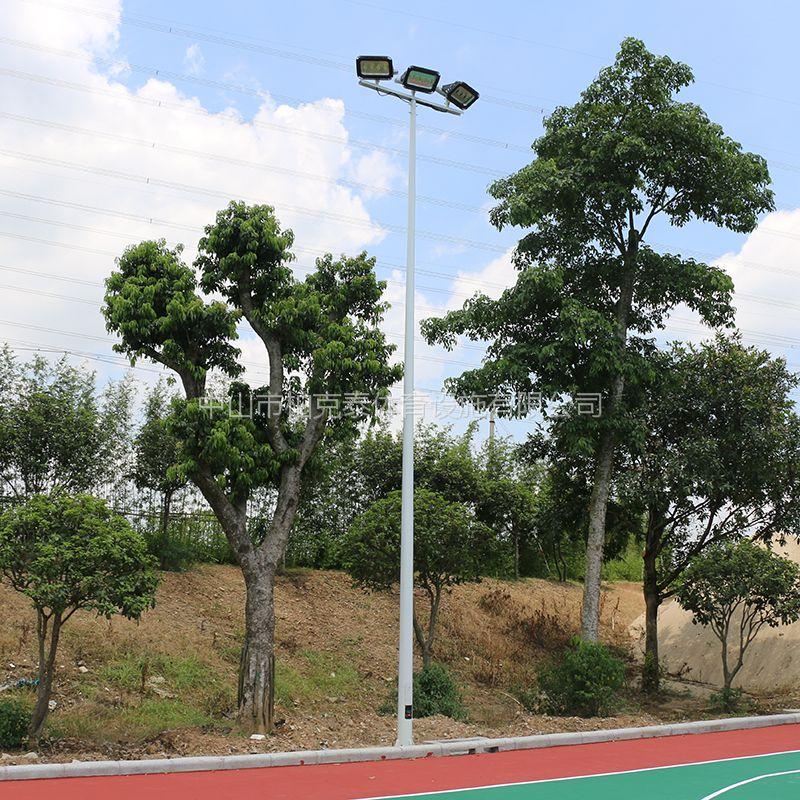 珠海篮球场照明灯光效果 社区球场LED灯具安装 柏克热镀锌灯杆批发