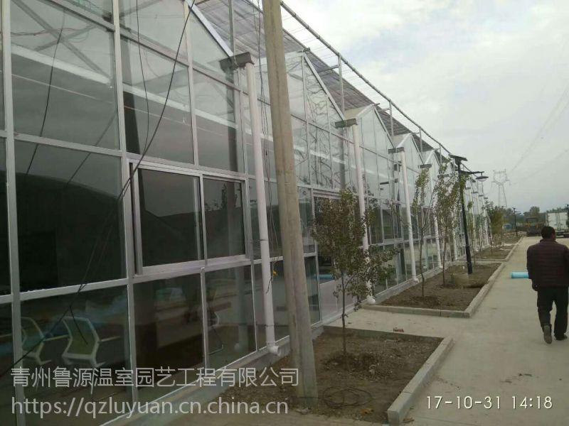 宁夏自动控温控湿玻璃温室大棚595中空型、冬季保温好专业建设厂家