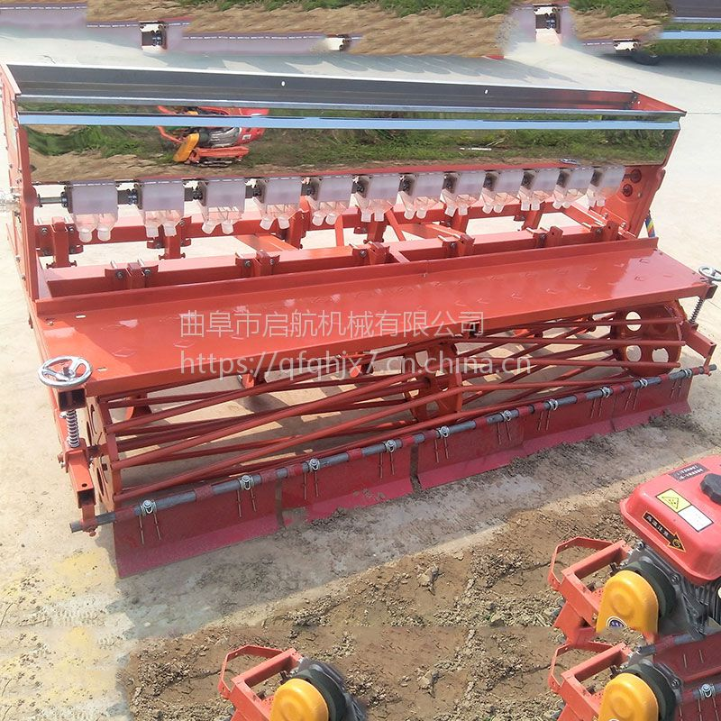 小粒种子蔬菜播种机 拖拉机牵引的6行油菜播种机 启航1.8米的白菜穴播机价格