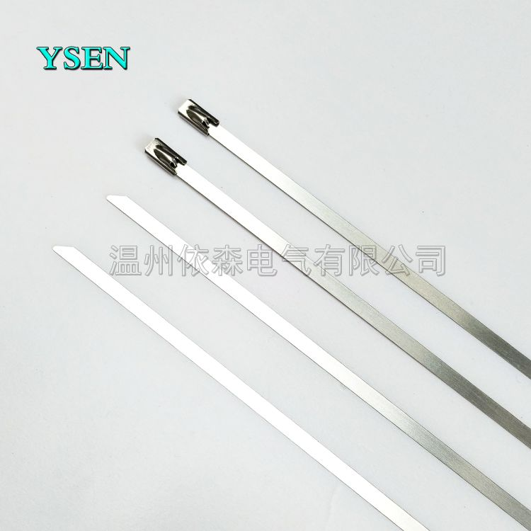 依森船用不锈钢扎带供应贵州 贵阳电力施工金属扎条 5*550MM204自锁白钢带