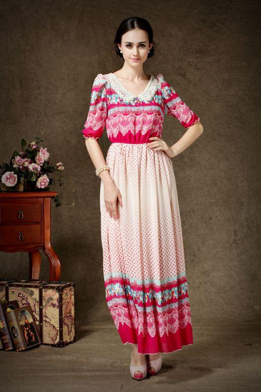 2014欧洲站夏季新款女装订珍珠半袖收腰印花复古款连衣裙图片