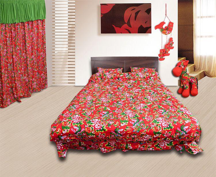 东北大花布被套四件套_东北大花布四件套/床品套件/床上用品/被套:红色凤凰牡丹