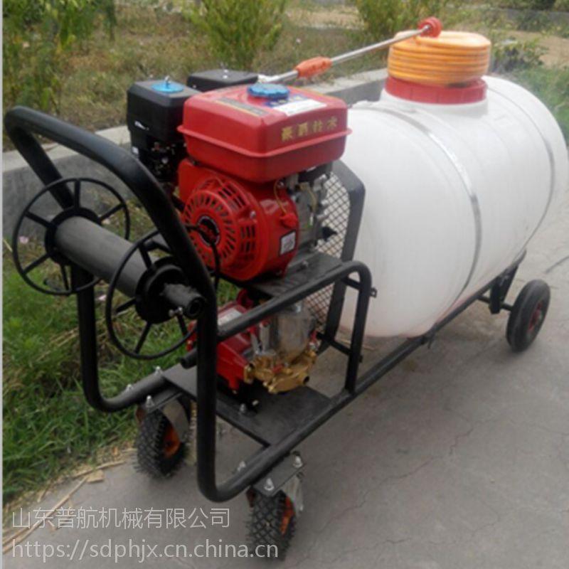 普航小型自走式果园打药机 四轮手推式汽油打药机 手推式拉管喷药机价格