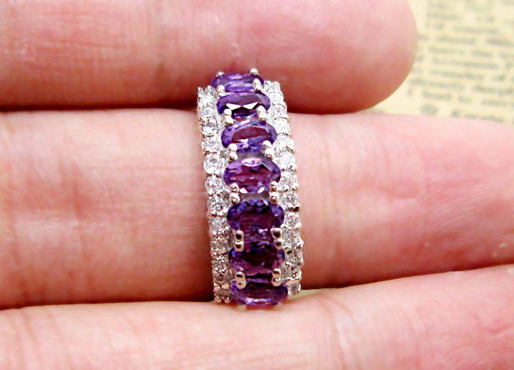 供应批发s925银镶嵌天然紫水晶戒指 时尚女戒 珠宝首饰加工代工