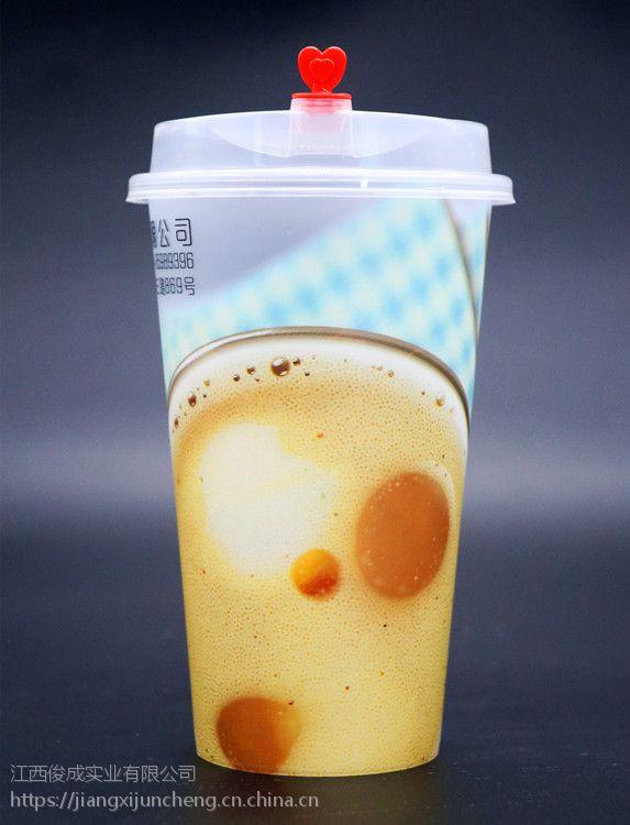 膜内贴杯,咖啡果茶塑料杯专版定制,质量好,印刷精美!