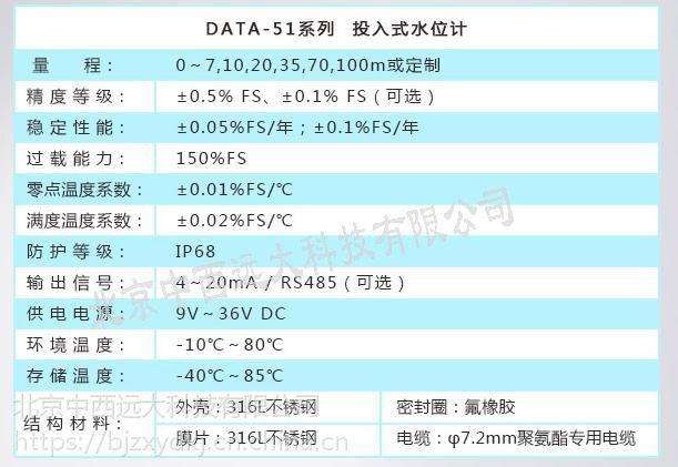 中西(LQS特价)投入式液位计 型号:DATA51库号:M407293
