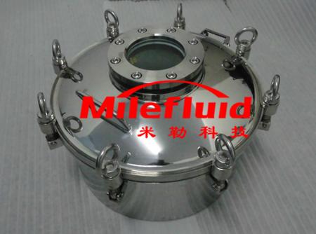 卫生级制药级圆形人孔,304不锈钢制药级圆形人孔标准