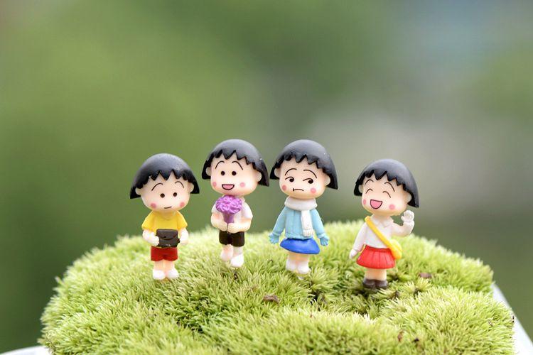 厂家定制批发 樱桃小丸子手办摆件卡通人物盆栽造景摄影摆设PVC材质玩具
