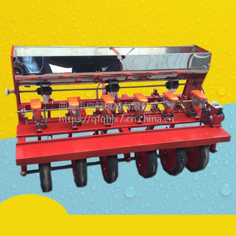 芝麻小颗粒精密播种机 油菜萝卜高粱播种机 启航四轮拖拉机带谷子穴播机