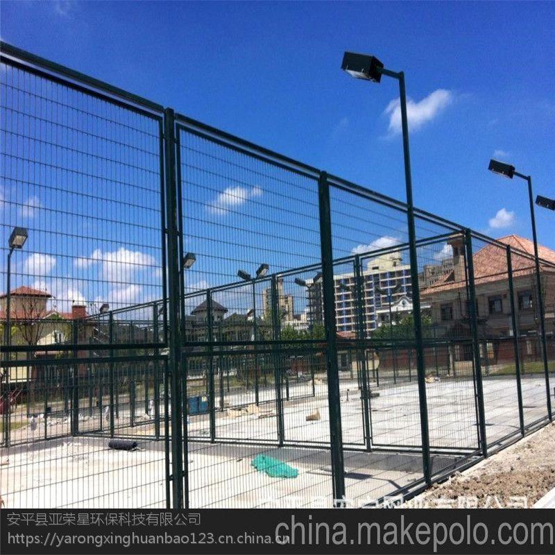 河北球场围栏厂家 绿色勾花篮球场护栏 学校运动场隔离网图片