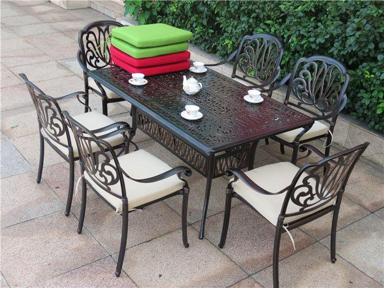 露天阳台铸铝桌椅茶几,会所金属休闲铸铝套椅配伞