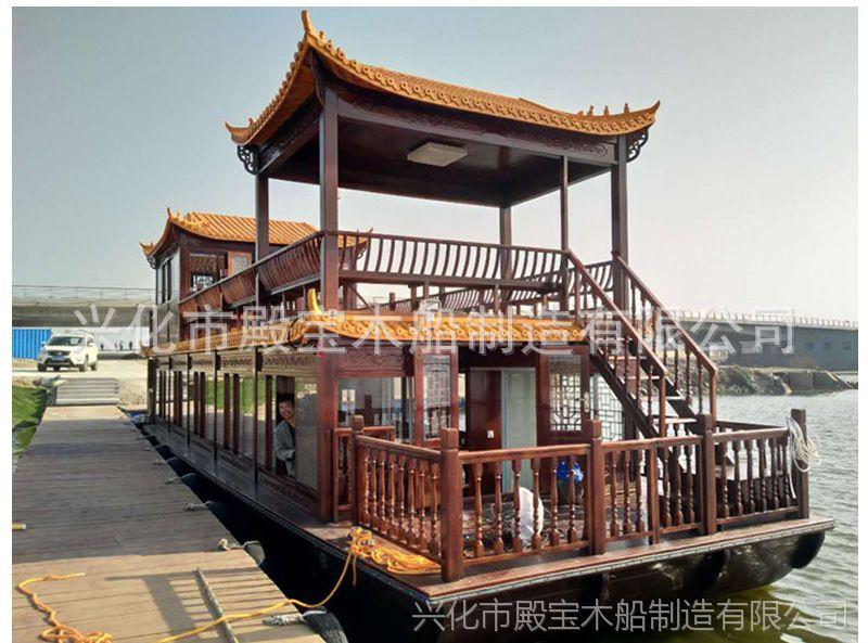 厂家批发木船供应 电动船水上餐饮船双层画舫船