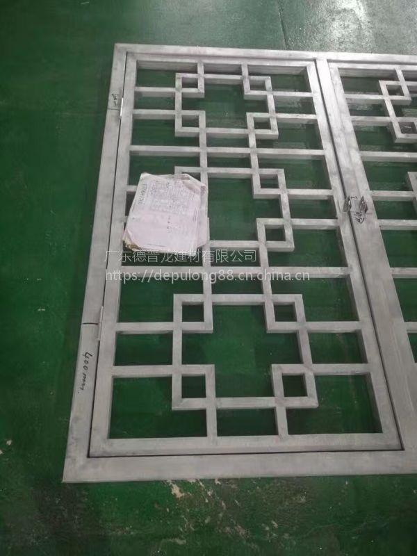 度假村街道木纹色铝窗花_格子铝挂落值得信懒加工厂