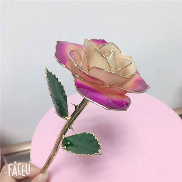 黛雅新款混合色金玫瑰 520精心制作表白礼物 厂家直销