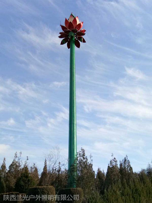 西安30米升降高杆灯——宝鸡麟游莲花灯