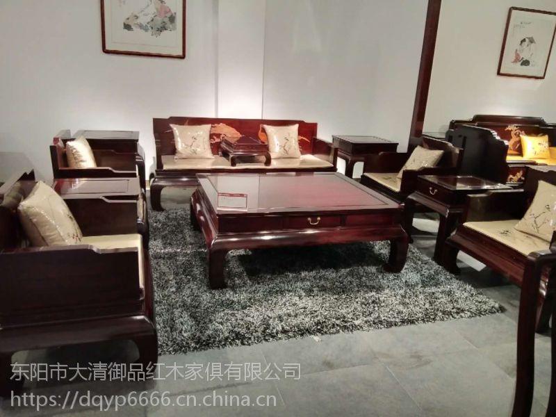 陕西宝鸡大清御品红木家具批发厂巴里黄檀松鹤沙发11件