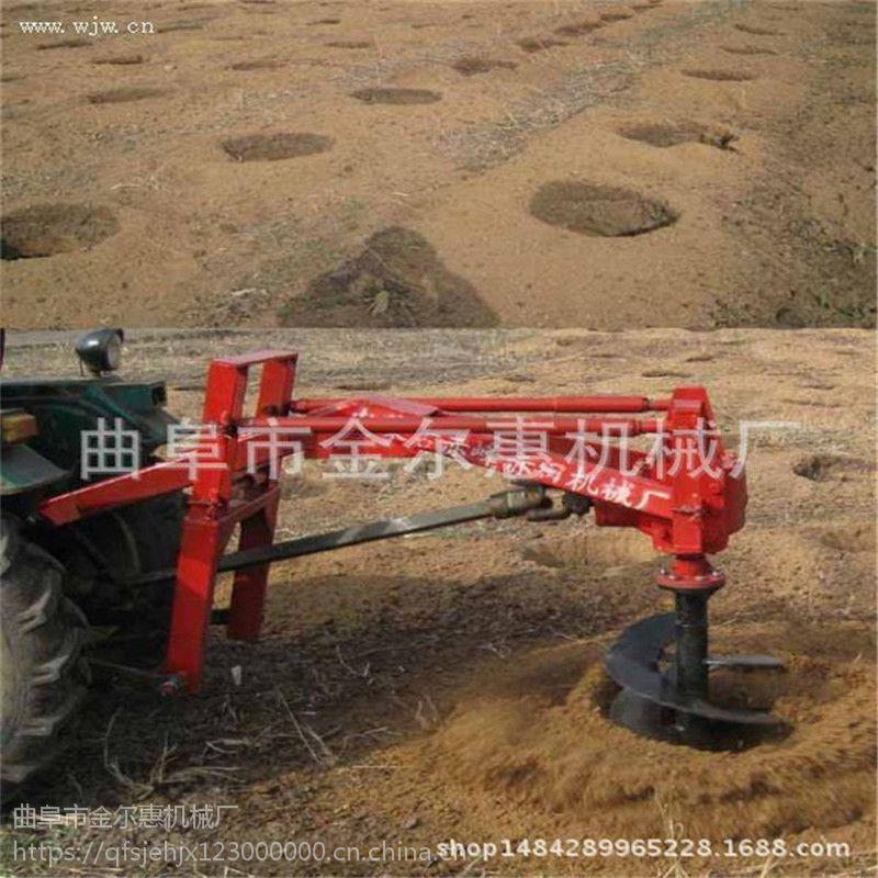 新型车载种树挖坑机 钻头力度打的钻洞机 大架子加厚的拖拉机挖坑机