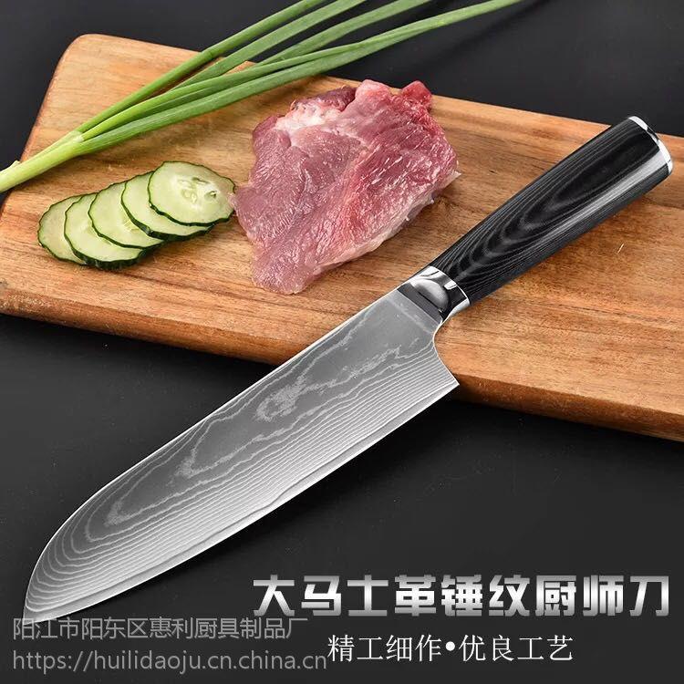 惠利8寸大马士革钢花纹西式厨师刀料理刀西厨寿司刀切肉刀面包刀