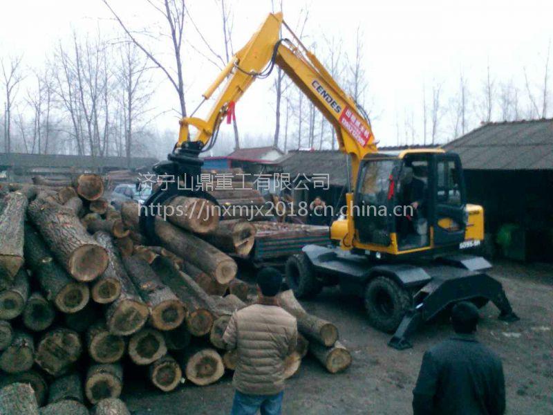 轮式抓木机厂家直销 360°旋转抓木器 胶轮挖掘机小型装载机