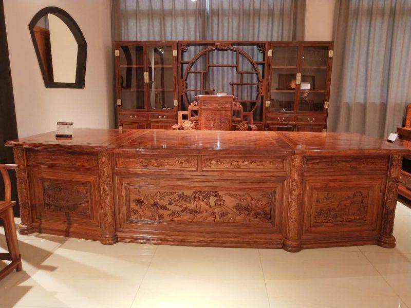 中山市刺猬紫檀办公家具书柜组合生产厂家