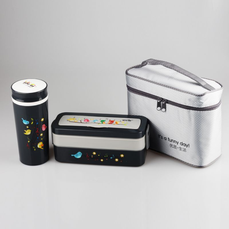 厂家直销夏季新品悠悦595雀语便携式保温便当盒套装 厂家批发杯盒两件套 时尚微波专用餐盒
