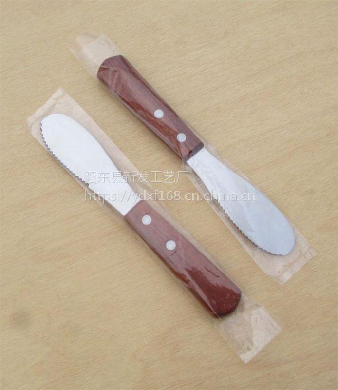 厂家直供实木柄牛油刮刀 不锈钢果酱芝士涂抹刀 面包奶油刮平刀 烹饪小工具