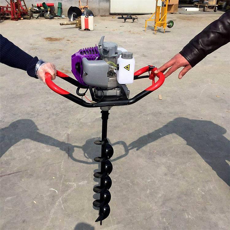 手提式单人操作挖坑机 果园大棚汽油挖坑机 乐民牌