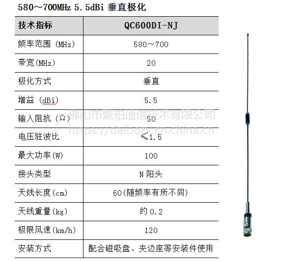 QC600DI-NJ 车台天线杆 VHF/UHF天线