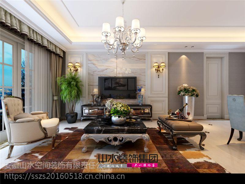 【山水装饰】琥珀五环城98平米典雅精致简欧风格设计案例效果