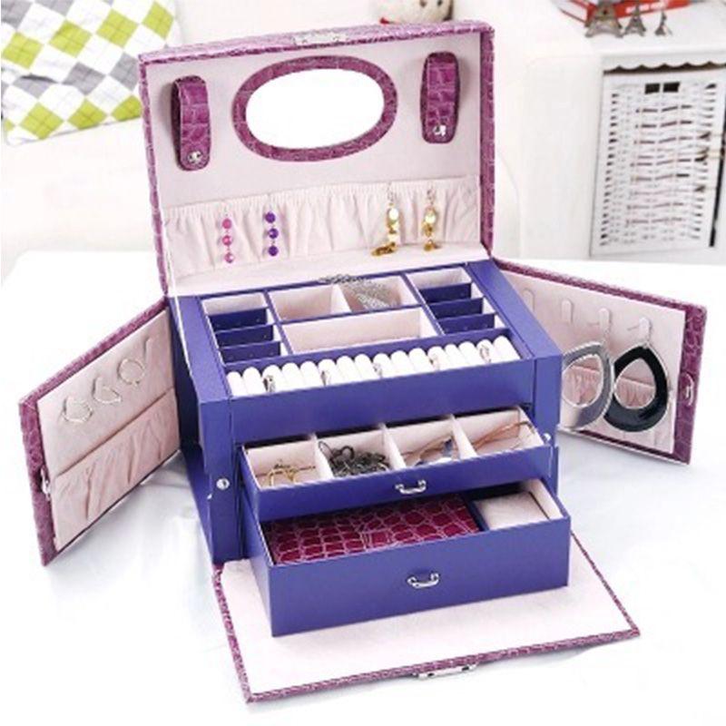 定制多层超大容量首饰盒带锁首饰盒子 便携高档饰品盒女士化妆盒