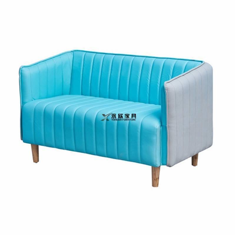 中山酒店皮制沙发订做,双人位扶手卡座沙发