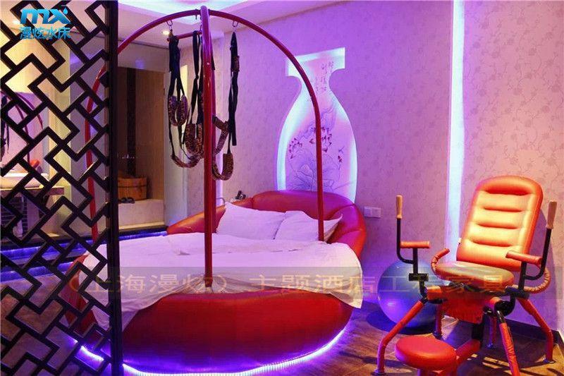 酒店床上情趣主题宾馆v酒店酒店海漫炫直销布艺酒店床情趣宁波水床sm情趣图片
