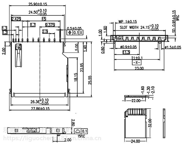 东莞 SOFNG SD-002 尺寸:26.5mm*25.0mm*3.0mm 内存卡连接器