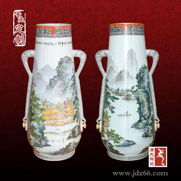 高端礼品厂家定制景德镇陶瓷花瓶 手绘花瓶定制