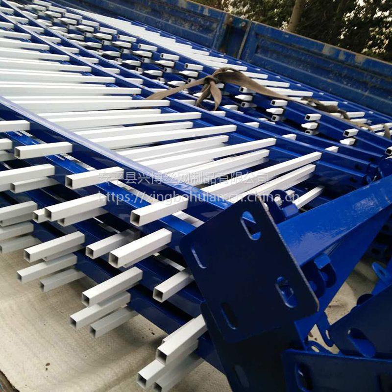 推荐安平兴博金属小区围墙插拔式锌钢护栏喷塑方管铁栅栏隔离围栏