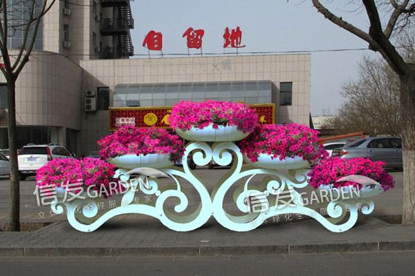 祥云铁艺花架立体容器 公园广场绿化美化 大型造型花架