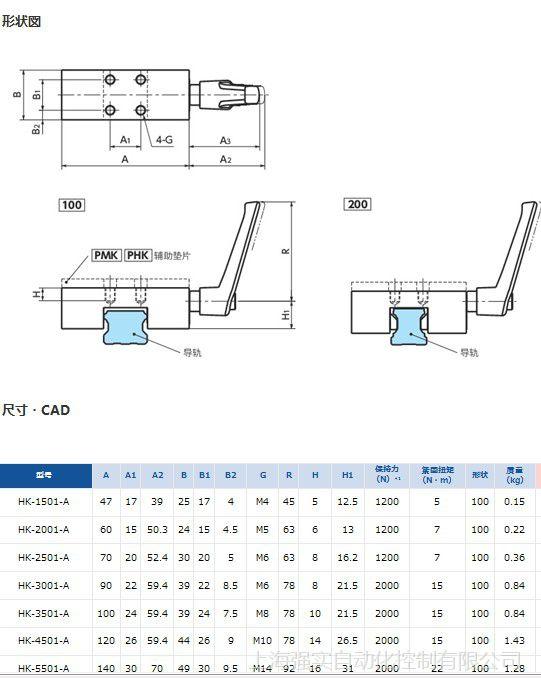 直线导轨钳制器HK2501A 进口手动控制经济型导轨锁