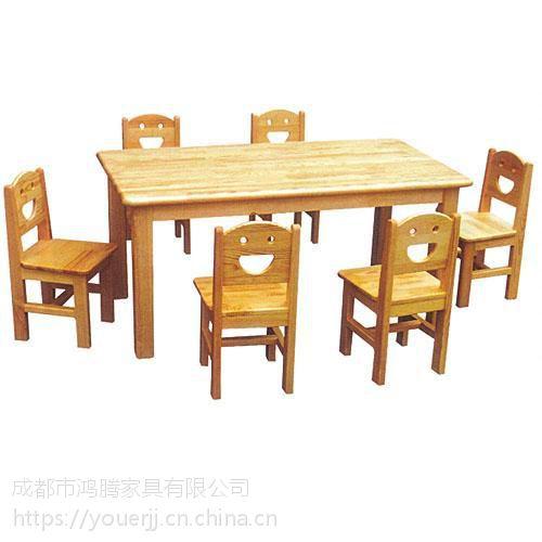 幼儿课桌椅实木六人桌 实木幼儿园专用桌椅