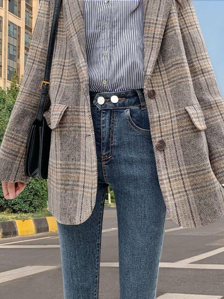 便宜牛仔裤韩版时尚弹力高腰女士牛仔裤清仓地摊货批发厂家库存牛仔裤