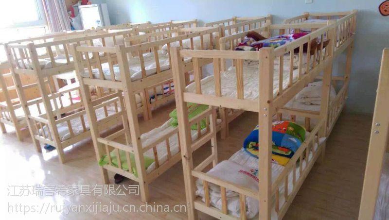 幼儿园实木床上下铺儿童床 现代中式学校双层床图片
