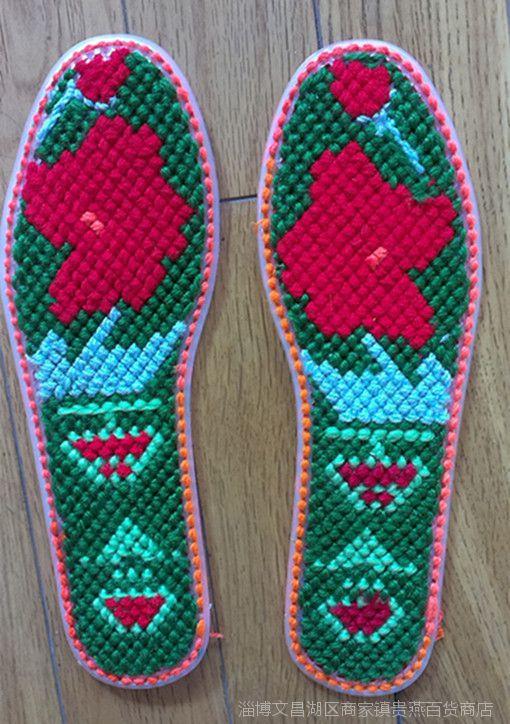 塑料网格鞋垫囹�-_步步高正斜梅花格手工十字绣熟软胶塑料网格鞋垫半成品送图,针