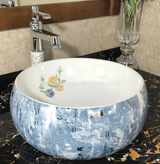 潮州厂家卫生间独立式台上陶瓷单孔贴花彩色艺术洗手盆台上盆