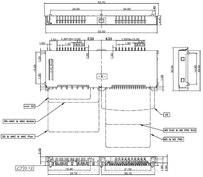 东莞 SOFNG CS-131 尺寸:52.5mm*19.0mm*4.4mm 多合一连接器