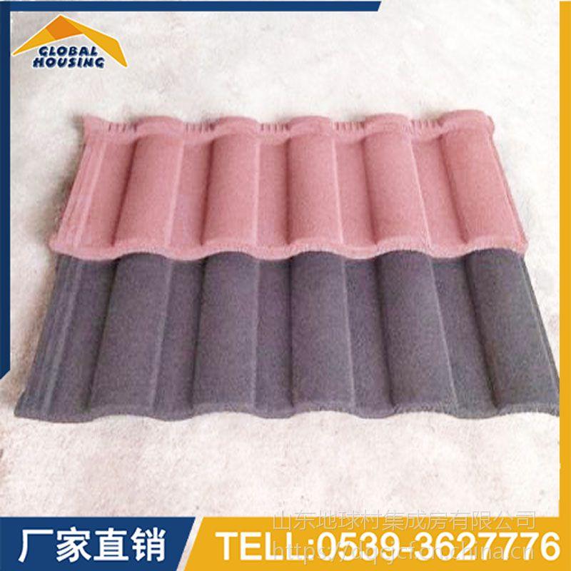 山东金属彩石瓦设计 斜边瓦尺寸 彩石瓦金属彩砂瓦