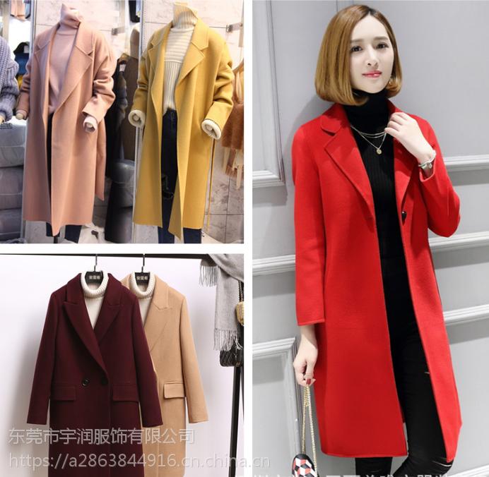 广州便宜毛呢外套批发时尚韩版女士呢子大衣双面尼大衣清货15元批发