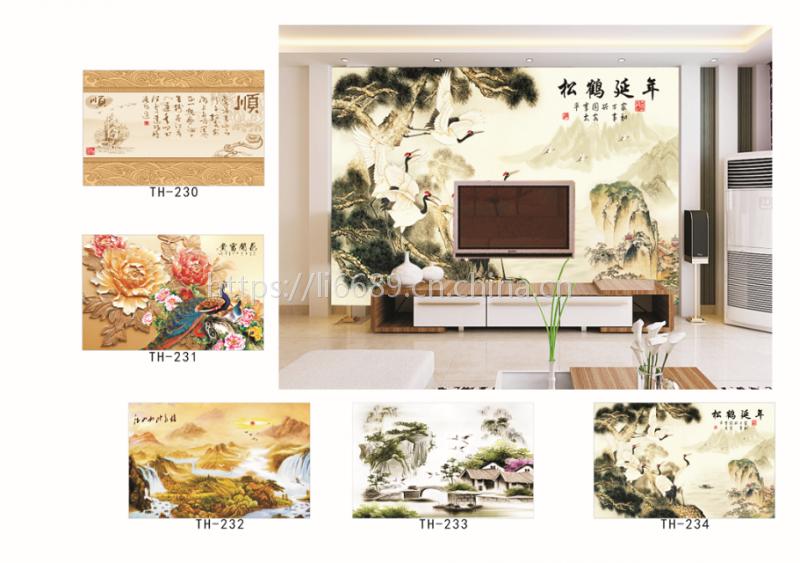 国画中式水墨系列《大型无缝壁画/个性壁画壁画定制》山水云鹤