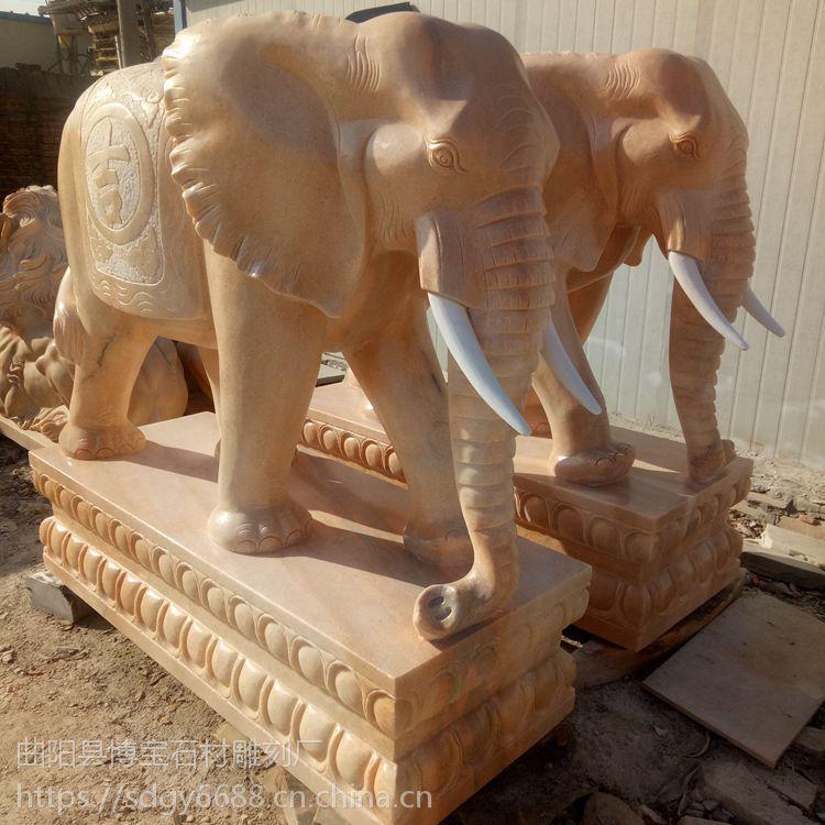 定制石雕大象 晚霞红石头大象雕刻 有现货