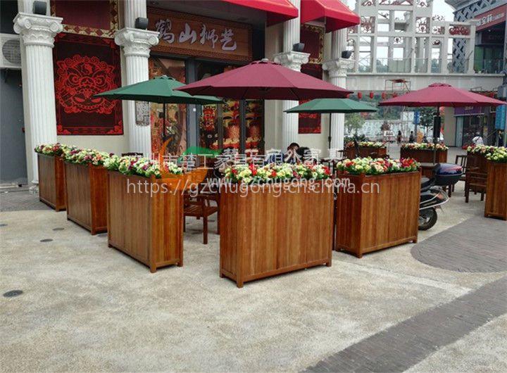 定做各种尺寸花箱,防腐松木花池,广州户外家具厂特供花箱