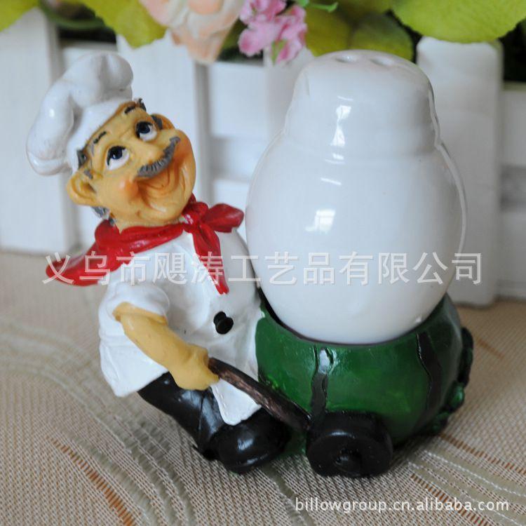 创意法国厨师椒盐罐 厨房用品 树脂卡通盐罐糖罐 新奇特商品j026图片
